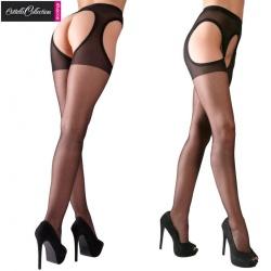 Zwarte Jarretel kousen - Panty met open kruis - or-02314360000