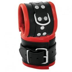 Lederen gepolsterde brede zwart-rode polsboeien - os-0102-2r