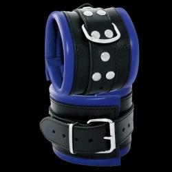 Luxe gepolsterde zwarte-blauwe lederen enkelboeien - os-0102-3b