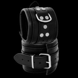 Luxe gepolsterde zwarte lederen enkelboeien - os-0102-3s