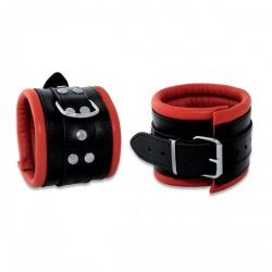 Luxe gepolsterde zwarte-rode lederen enkelboeien - os-0102-3r