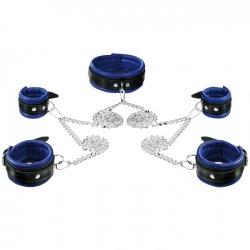 Lederen blauw-zwart gevoerde Hals- Pols- en Voetboeienset - os-0105-b