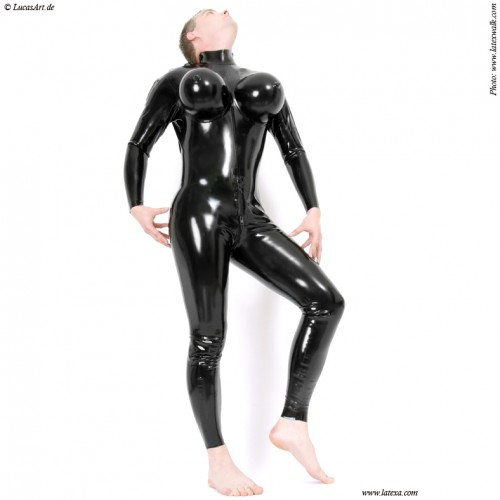 Catsuit for transvestites with inflatable breast - la-3246